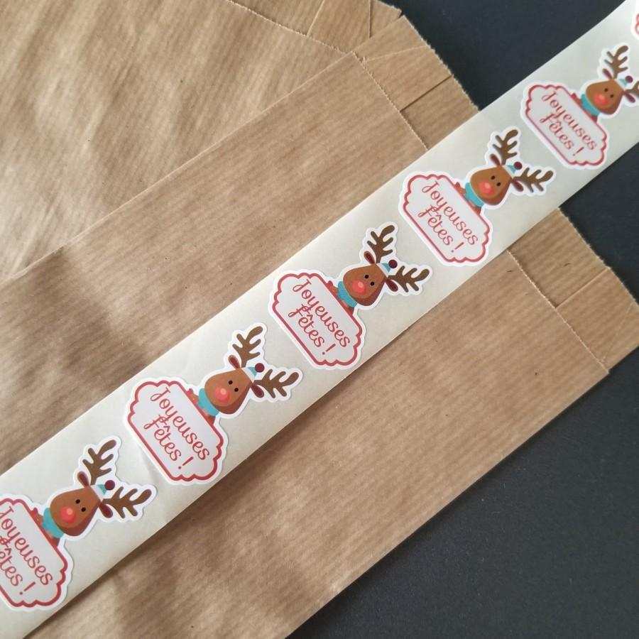 Pochette Cadeaux - 'KRAFT' avec Etiquette Noël