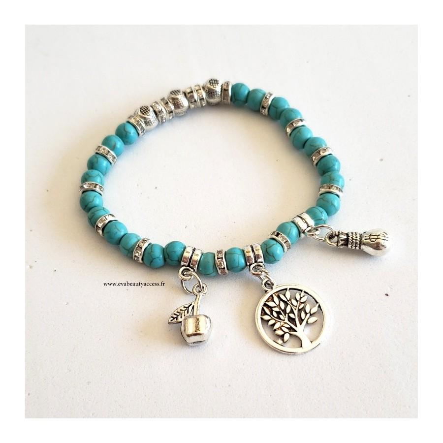 Bracelet Arbre de Vie Turquoise et Argent
