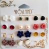 Lot 12 Paires Boucles d'Oreille 'Mix Fleurs/Perle Colorés' - ROSLYND