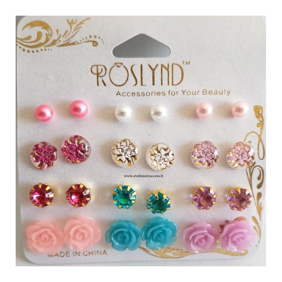 Lot 12 Paires Boucles d'Oreille 'Fleurs/Perles Pastel' - ROSLYND