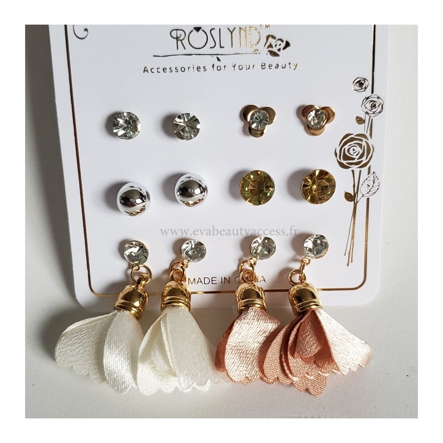 Lot 6 Paires Boucles d'Oreille 'CHIC SATINE' - ROSLYND