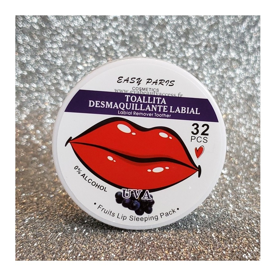 32 Lingettes Démaquillantes Lèvres Parfumées - RAISIN - EASY PARIS