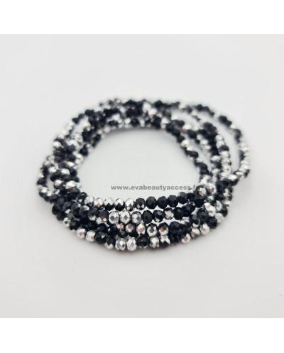 Collier Long Sautoir en Perle de Résine à Facette Brillant - Noir Argent