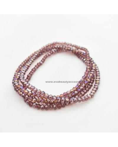 Collier Long Sautoir en Perle de Résine à Facette Brillant - Lila