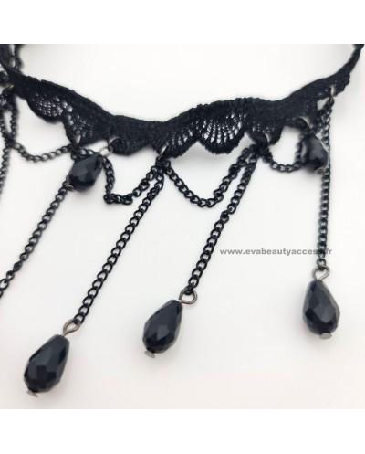 Collier Ras de Cou en Dentelle Noir avec Perles