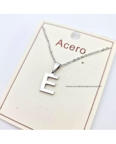 Collier - Lettre E - Argent - ACERO