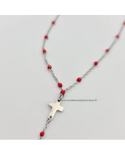 Collier Chapelet 2 Croix Argent - Rouge