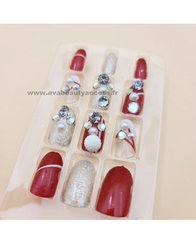Faux Ongles Fantaisie Deco 3D Strass - ROUGE - WYNIE