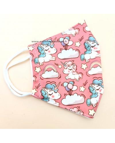 Masque en Tissu Lavable - LICORNES ROSES - ENFANT