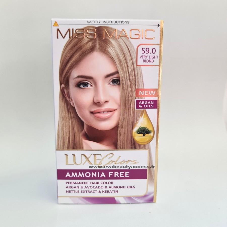 Coloration Sans Ammoniaque Cheveux Luxe Colors - S9.0 Blond très Clair - MISS MAGIC