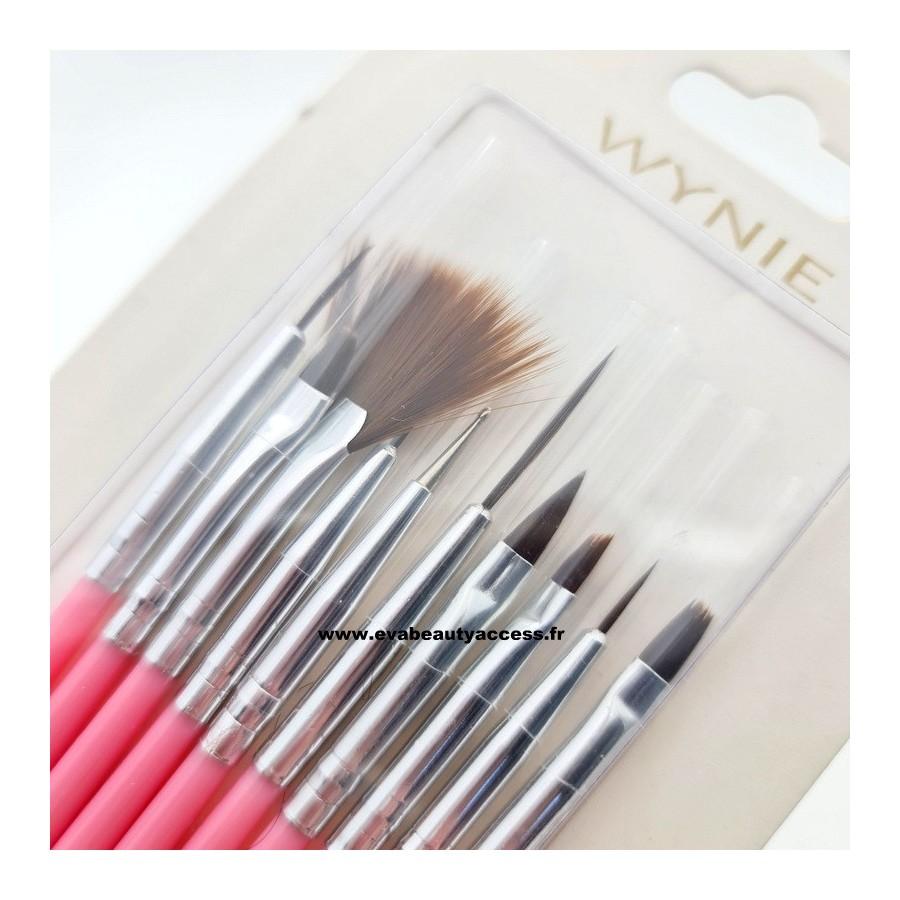 Lot de 10 Pinceaux Nail Art et Gel UV - WYNIE